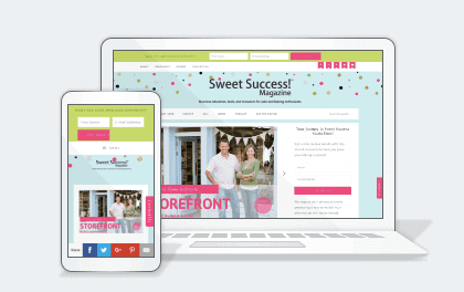 sweet success magazine on a laptop and smartphone