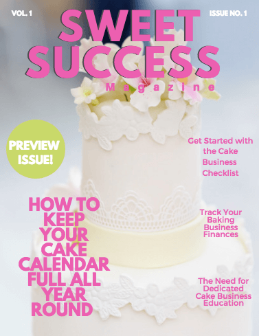 Cover of issue 1 with a white wedding cake and white sugar flowers