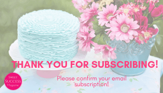 Sweet Success Magazine | light blue ruffle cake with bouquet of pink flowers