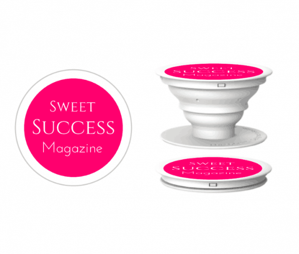 branded popsocket with pink dot logo
